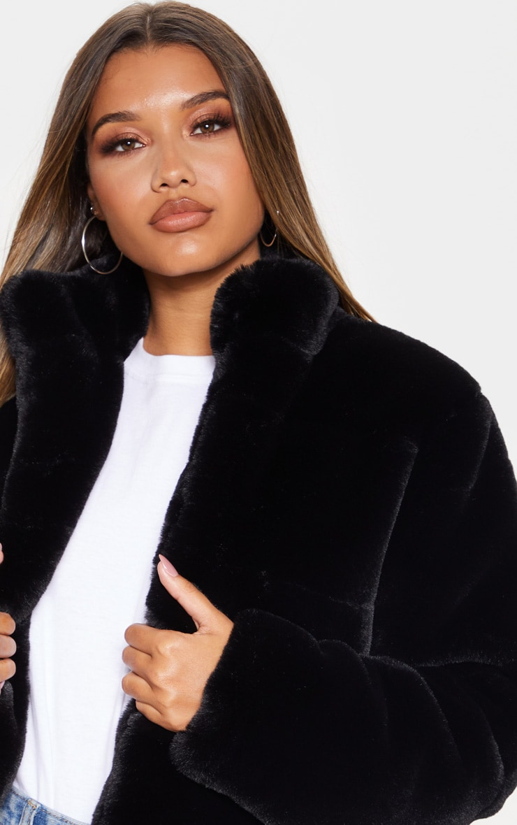 Black Collar Faux Fur Jacket 5