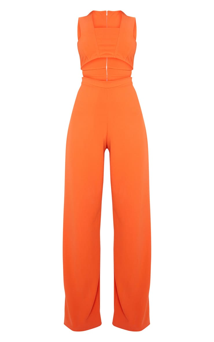 Orange Crepe Cut Out Jumpsuit 3