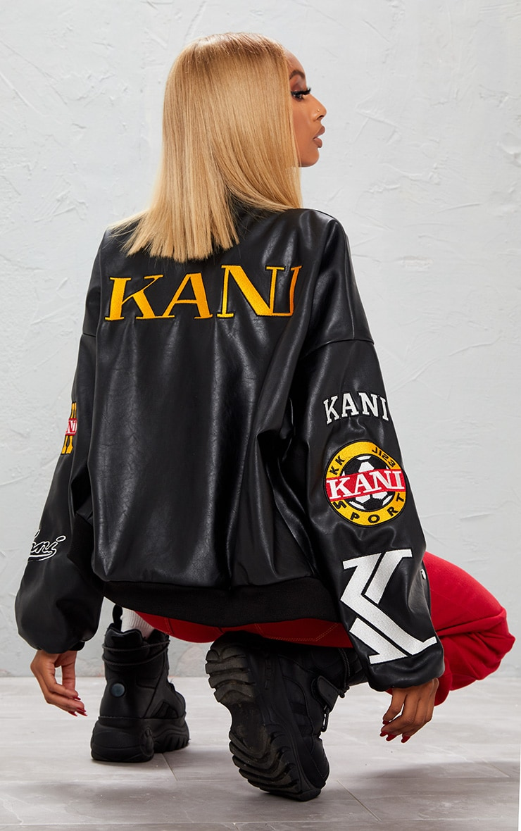 KARL KANI Black Embroidered Applique Bomber Jacket