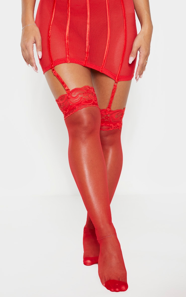 Red Lace Top Sheer Hold Ups 2