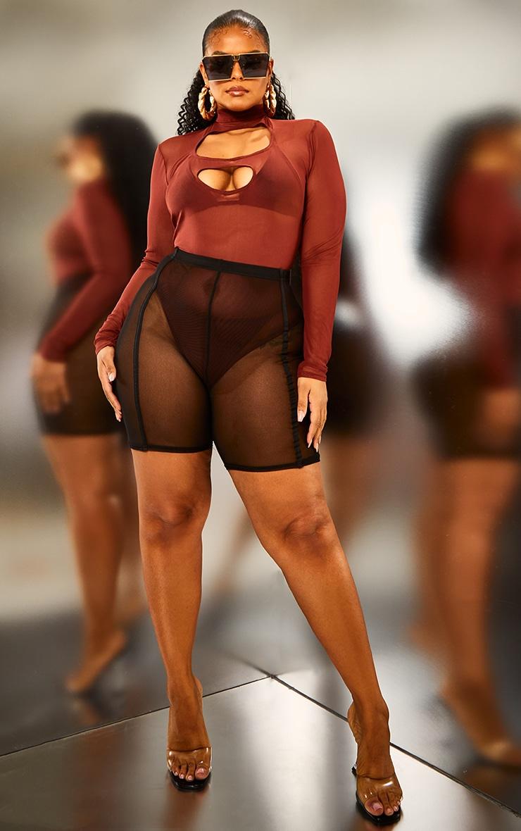 Plus Brown Mesh High Neck Long Sleeve Cut Out Bodysuit 3