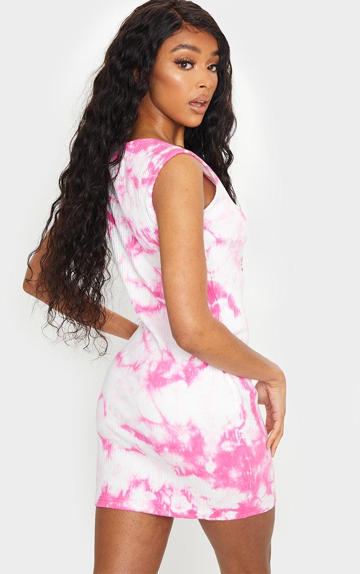 PRETTYLITTLETHING Pink Reflective Thick Rib Tie Dye Bodycon Dress 2