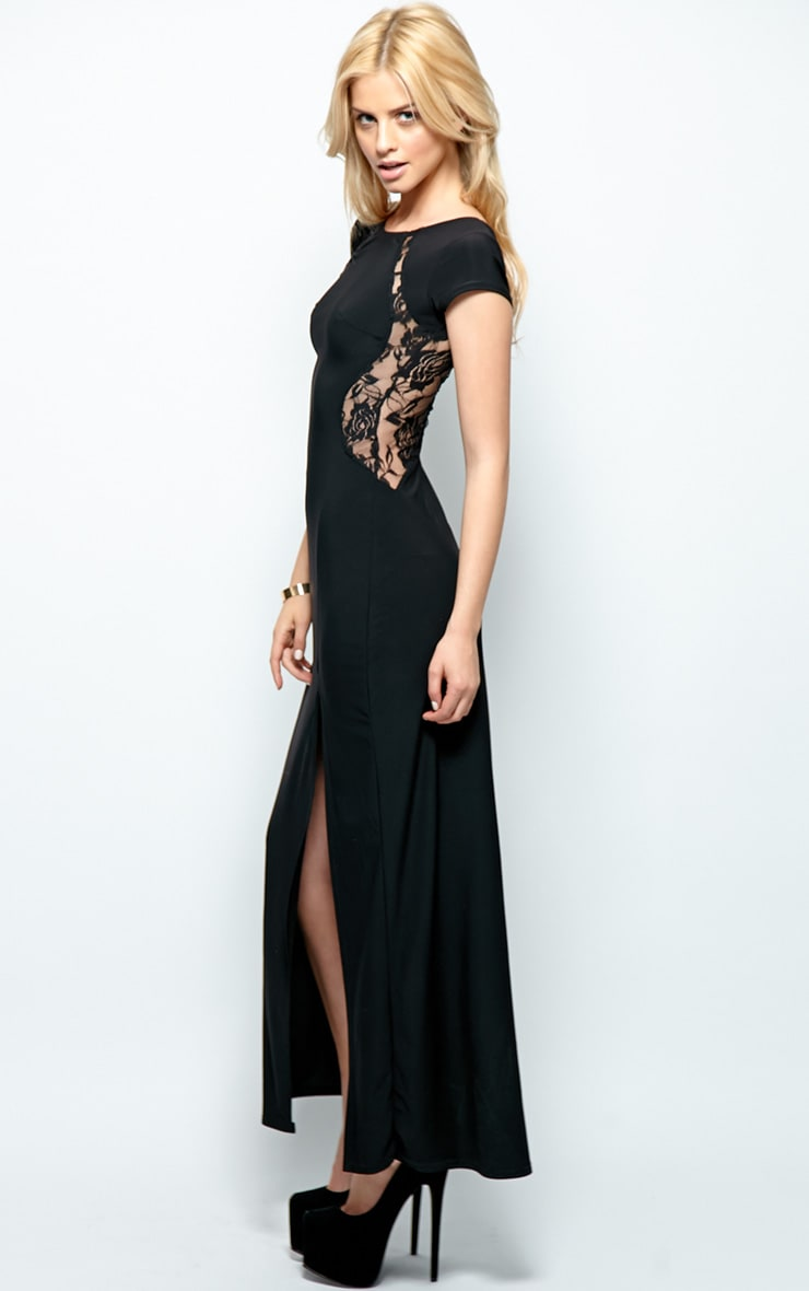 Venus Black Lace Panel Maxi Dress 4