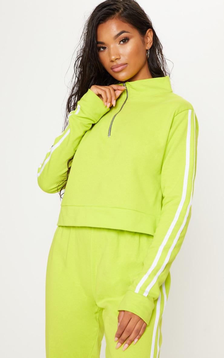 Lime Contrast Stripe Cropped Zip Up Boyfriend Sweatshirt  by Prettylittlething