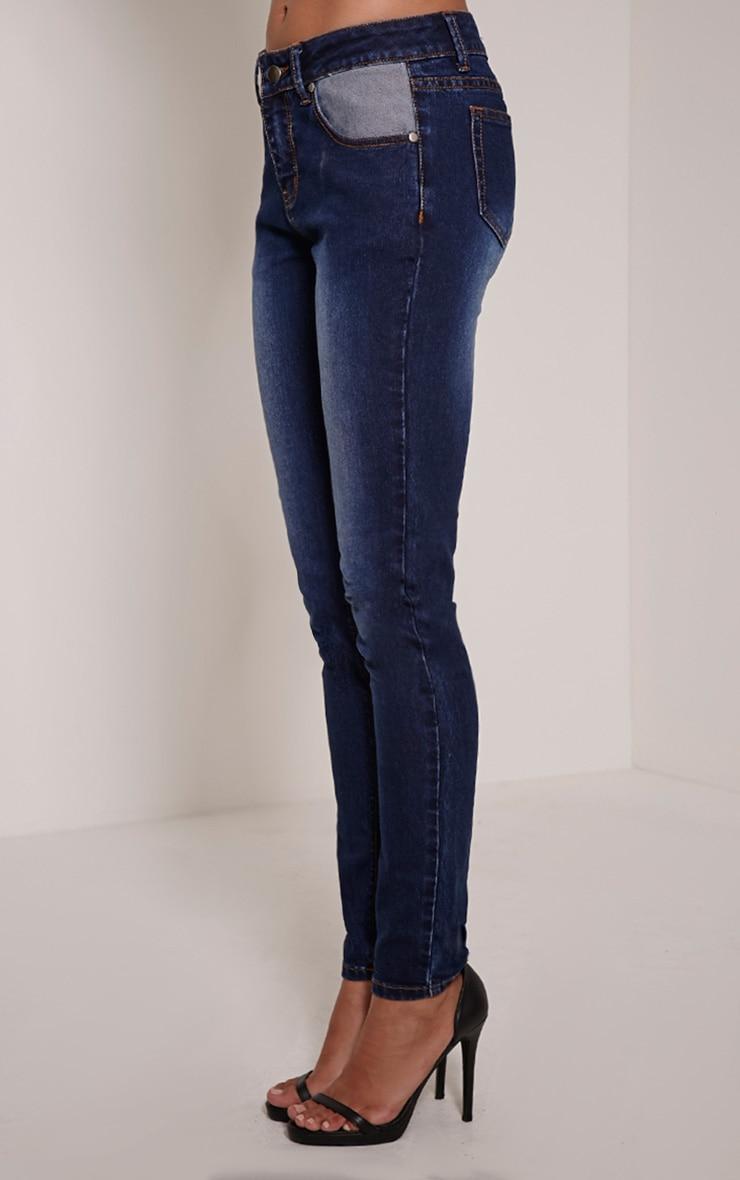 Kennedy Indigo Blue Contrast Pocket Skinny Jeans 4