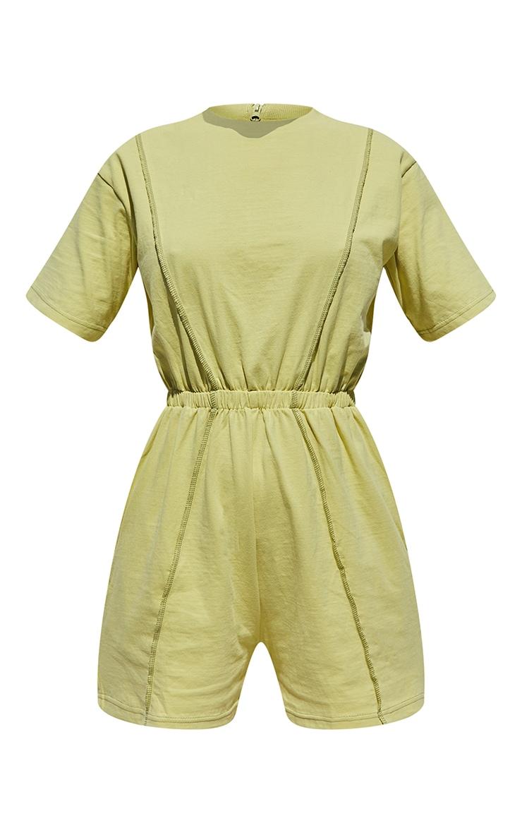 Olive Seam Detail T Shirt Playsuit 5