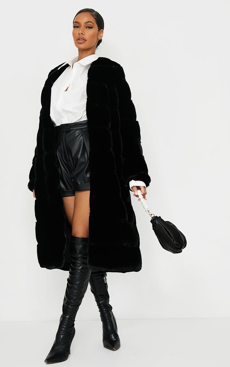 Black Premium Faux Fur Bubble Maxi Coat 4
