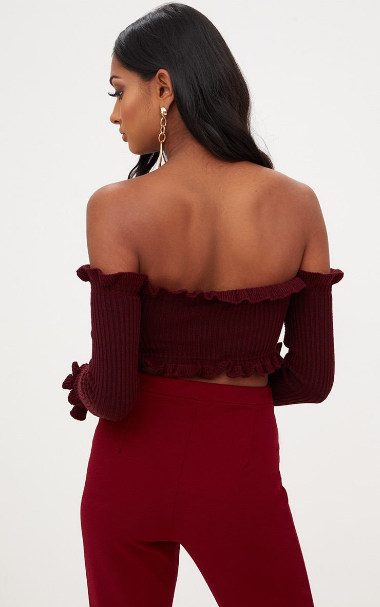 Burgundy Ruffle Detail Knit Bardot Long Sleeve Top 2
