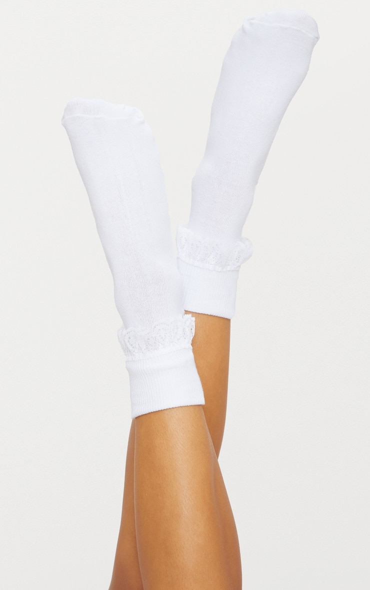 White Lace Frill Ankle Socks 1