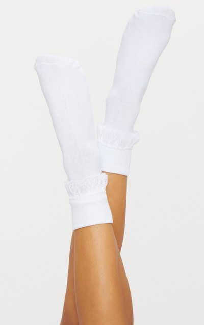 41056dced White Lace Frill Ankle Socks