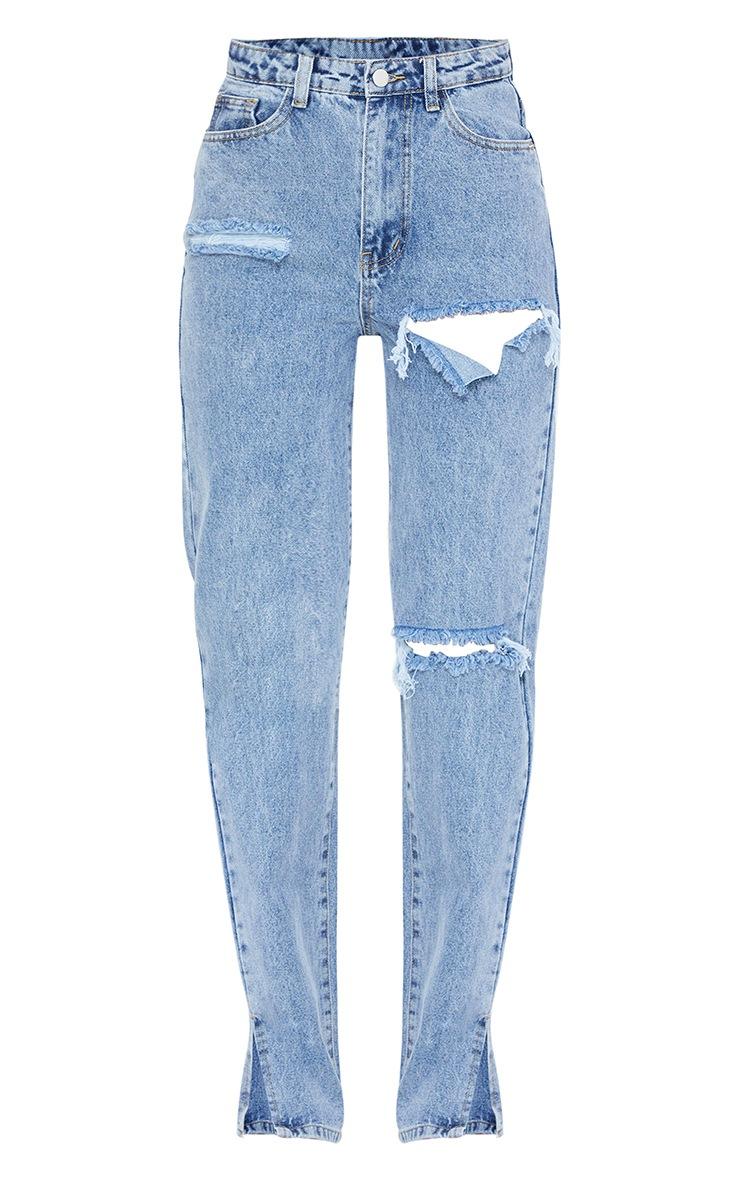 Light Blue Wash Distressed Split Hem Jeans 5