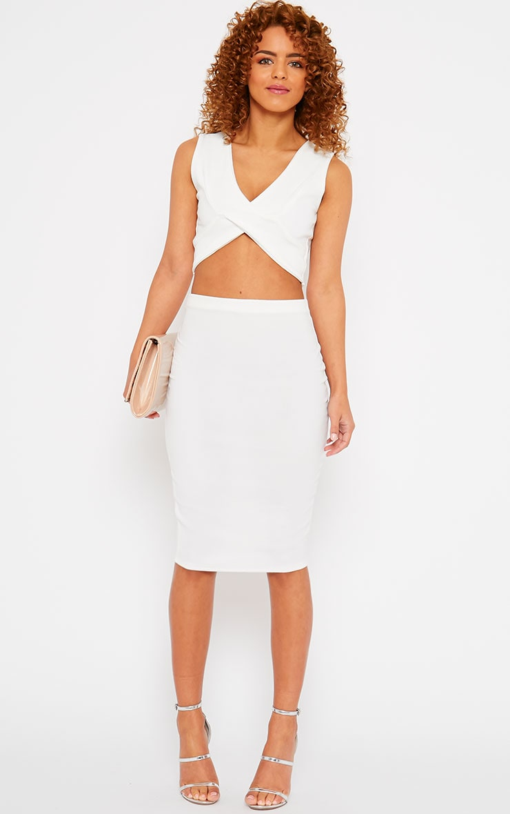 Tess Cream Crepe Midi Skirt 1