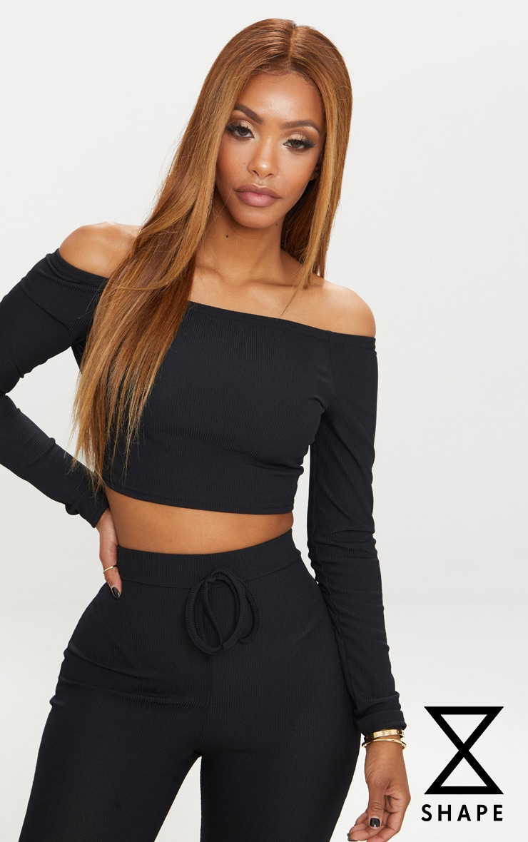 Shape Black Ribbed Bardot Long Sleeve Crop Top