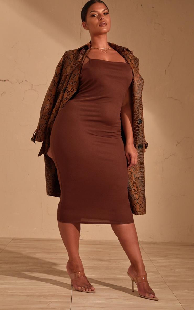 Plus Chocolate Brown  Strappy Midi Dress 4