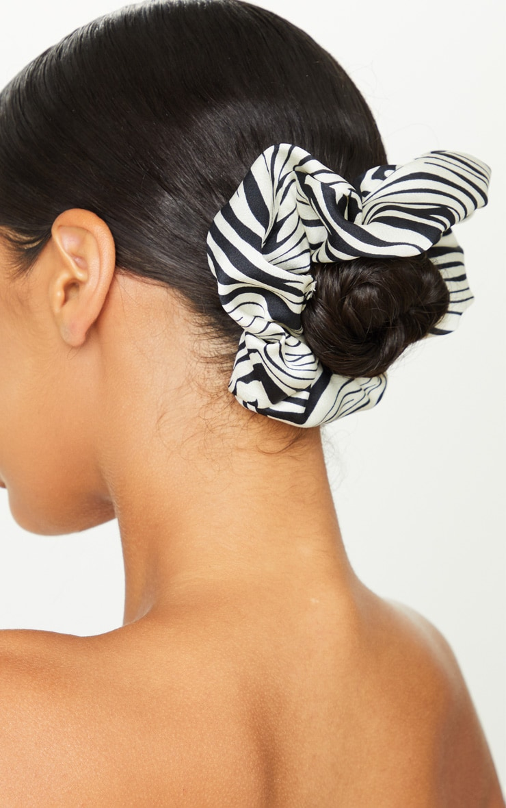 Black Zebra Satin Scrunchie 2