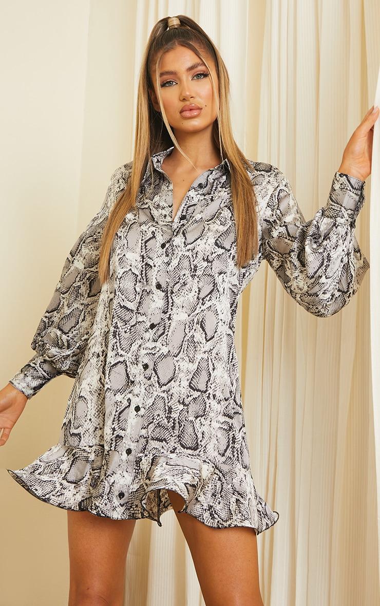 Grey Snake Frill Hem Shirt Dress 1