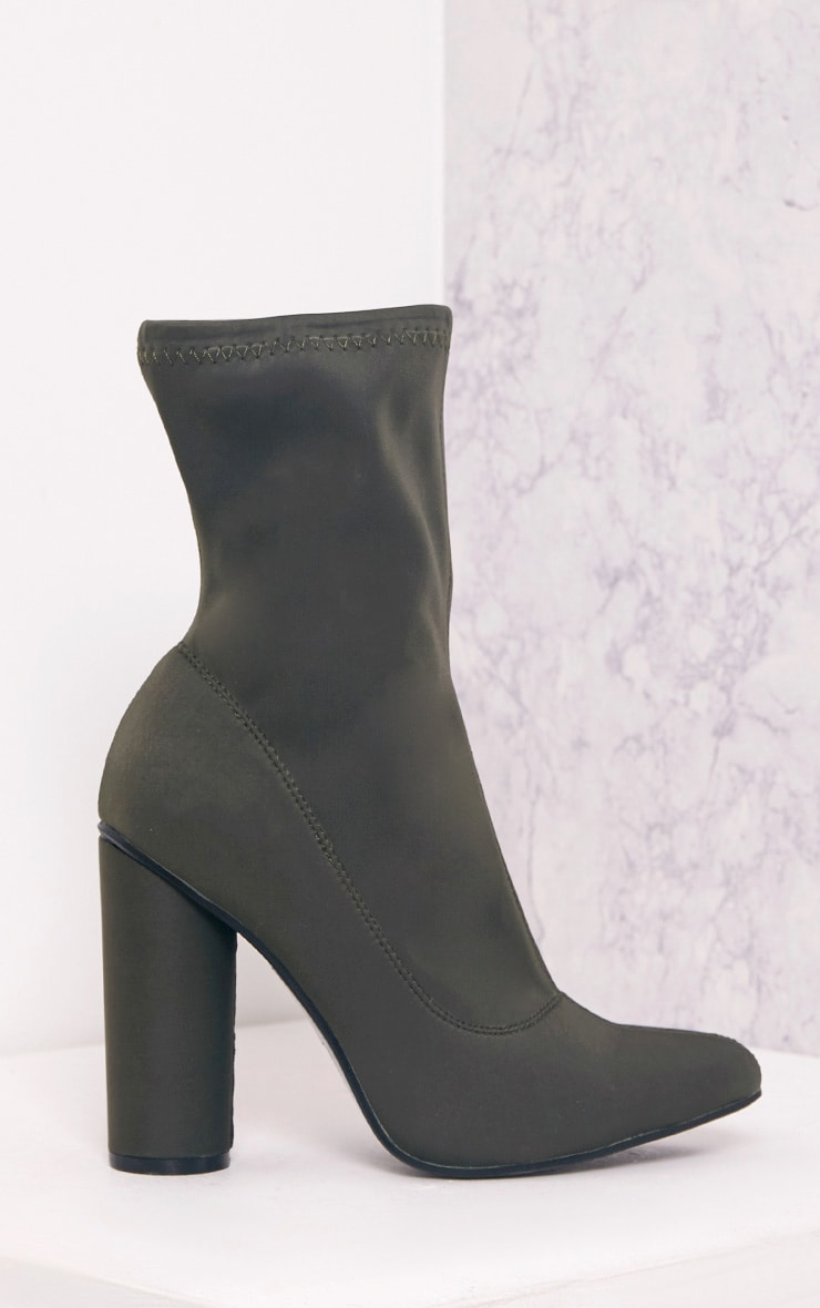 Leanah Khaki Neoprene Pointed Heeled Ankle Boots 3