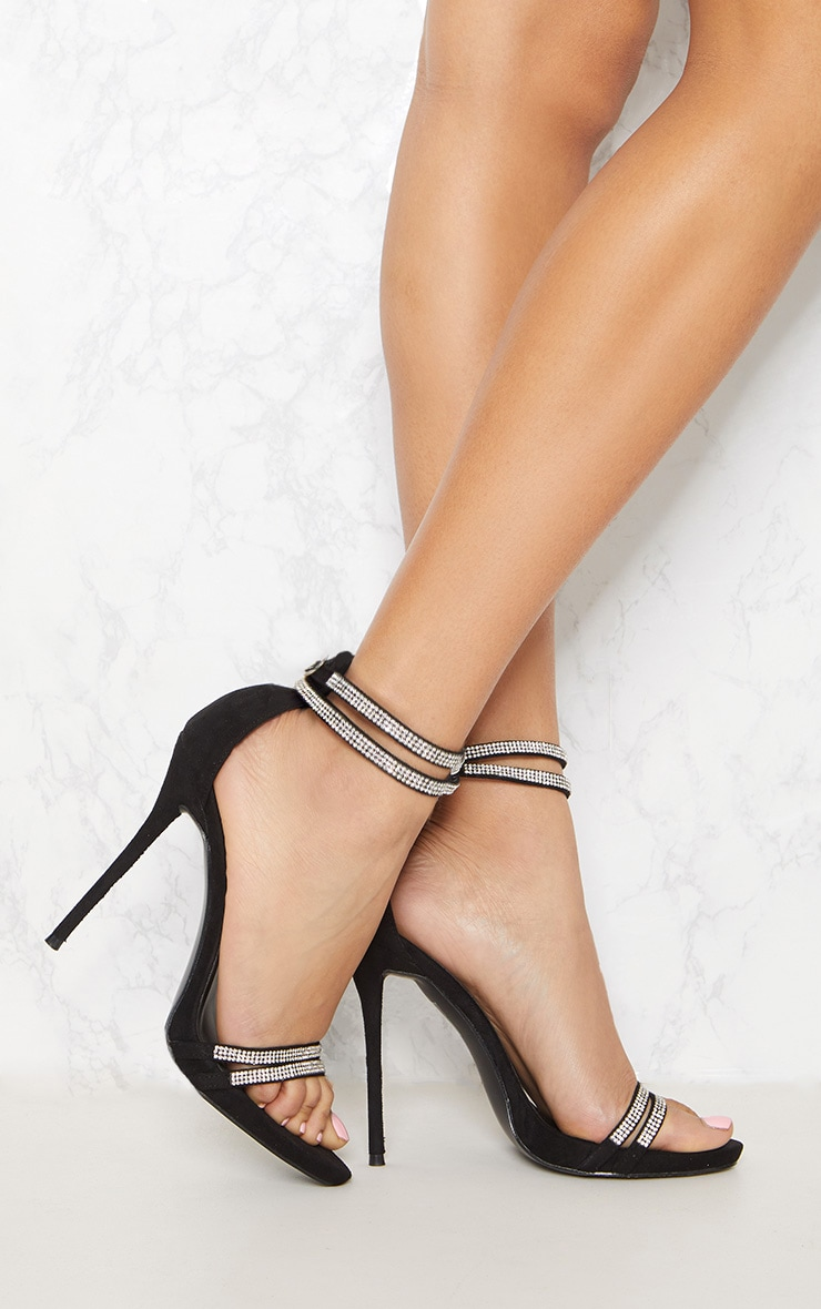 Black Diamante Jewel Strappy Sandal 1