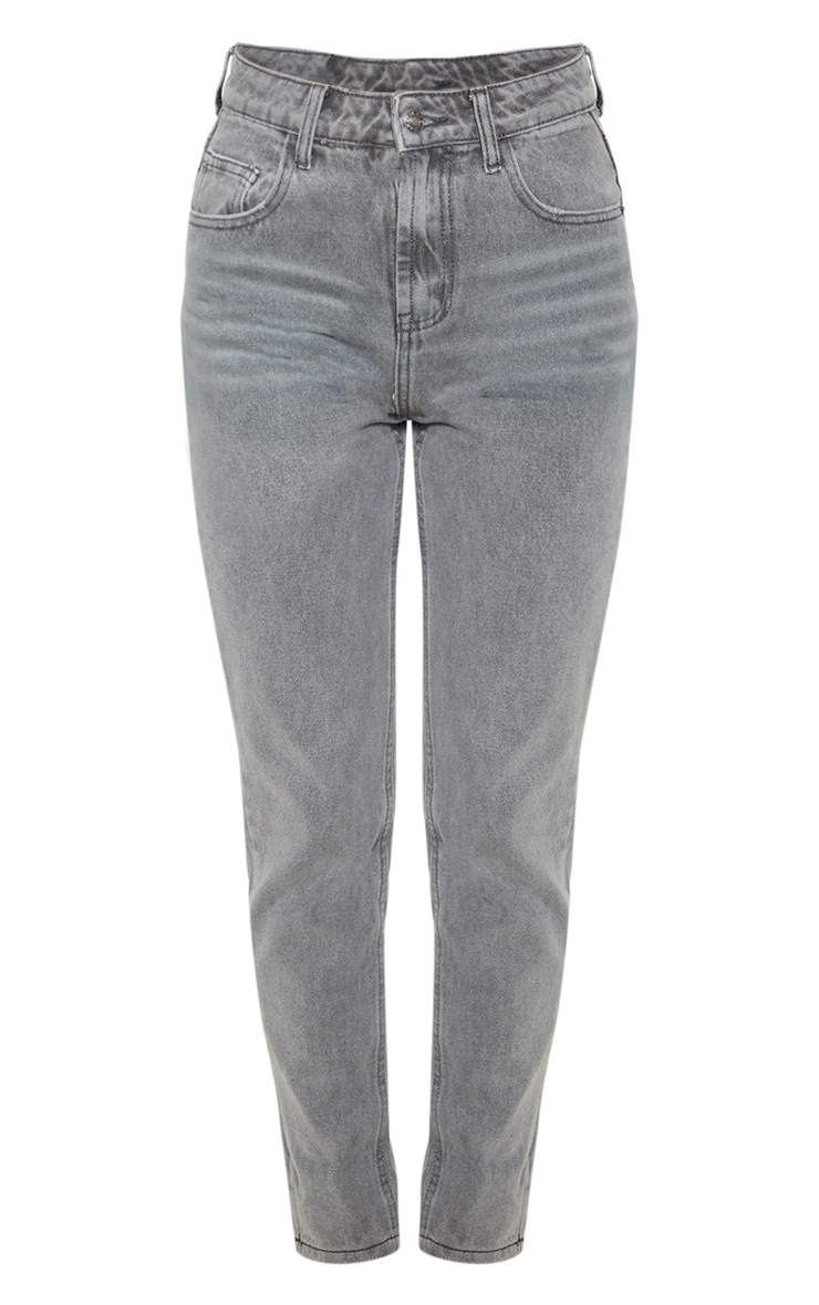 Washed Grey Mom Jeans 3