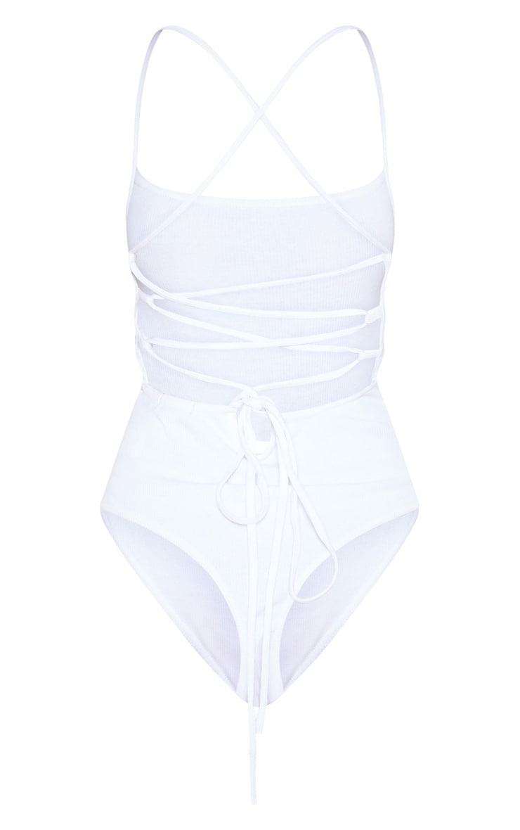 White Rib Strappy Back Thong Bodysuit 4