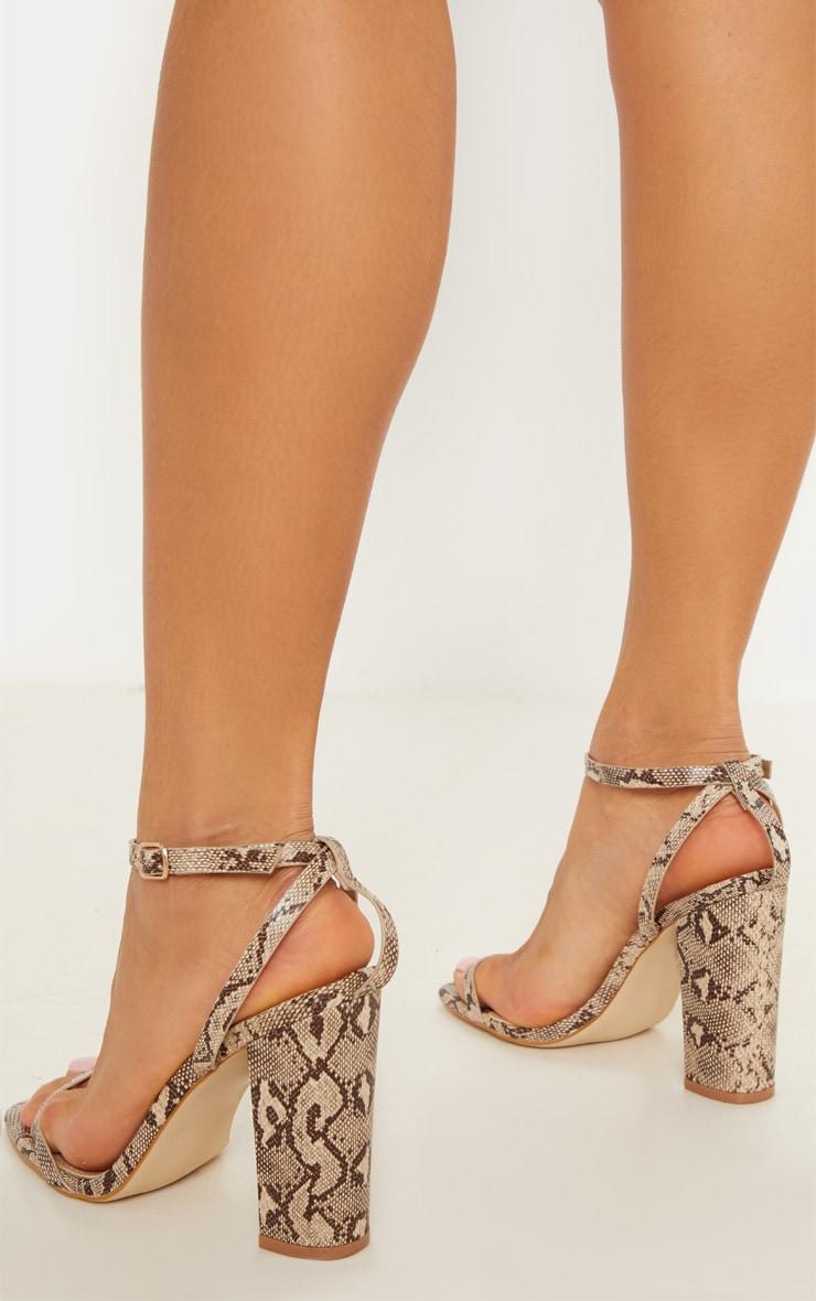 Snake Square Toe Block Heel Sandal  2