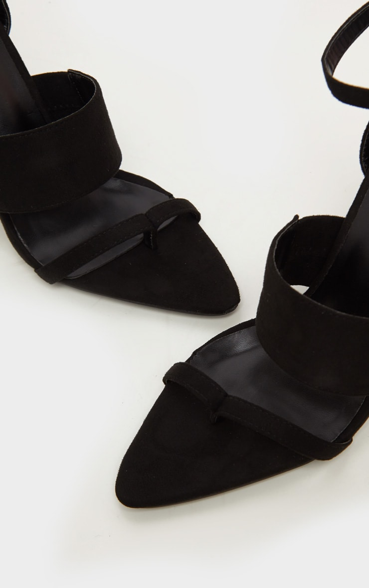 Black Toe Loop Point Toe Block Heel Sandal 3