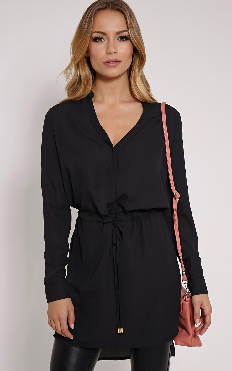 Sonora Black Oversized Drawstring Shirt 1