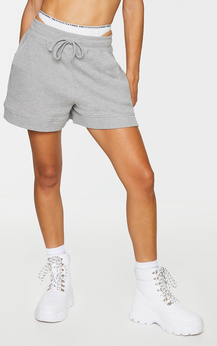 Grey Waffle Textured Runner Shorts 2