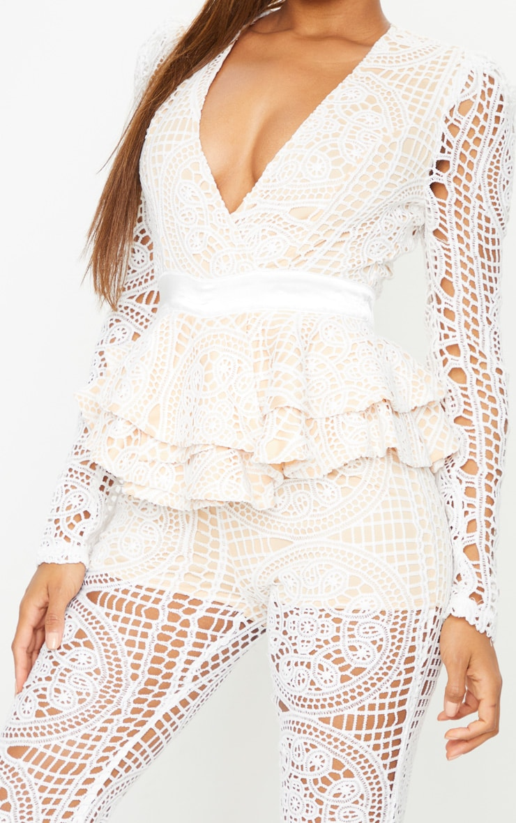 White Lace Peplum Detail Long Sleeve Jumpsuit 4