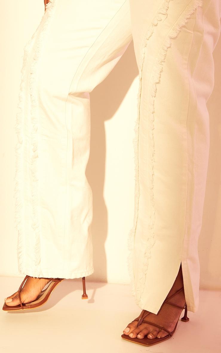 Plus White Fray Detail Split Hem Jeans 4