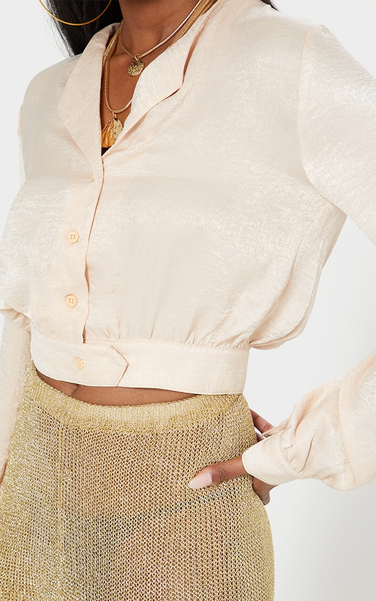 Champagne Satin Button Front Crop Shirt  5