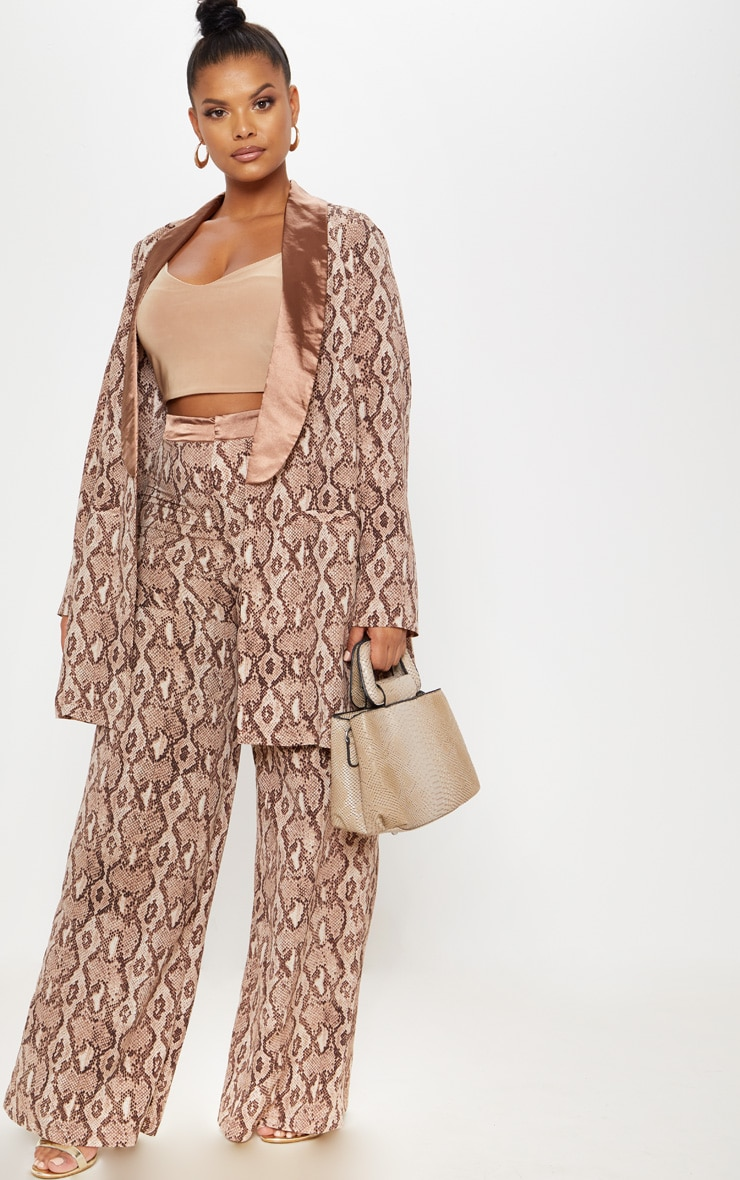 Plus Taupe Snake Print Wide Leg Pants 1