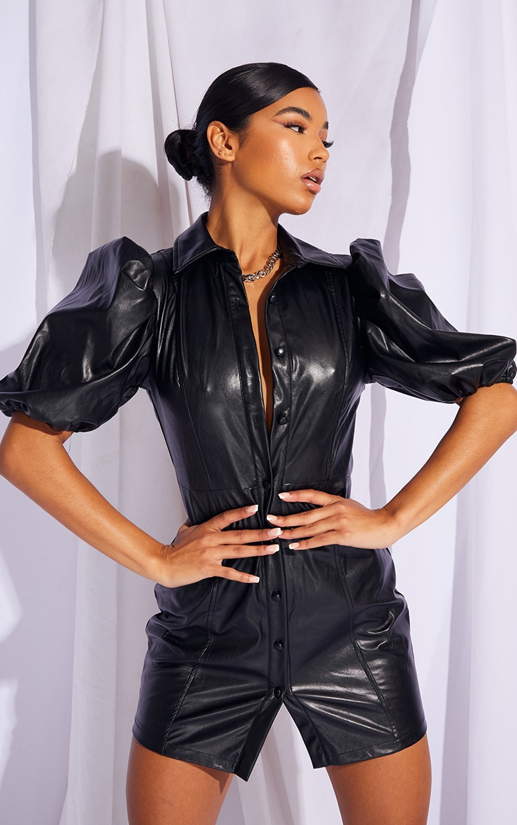 Black Faux Leather Puff Sleeve Bodycon Dress 1