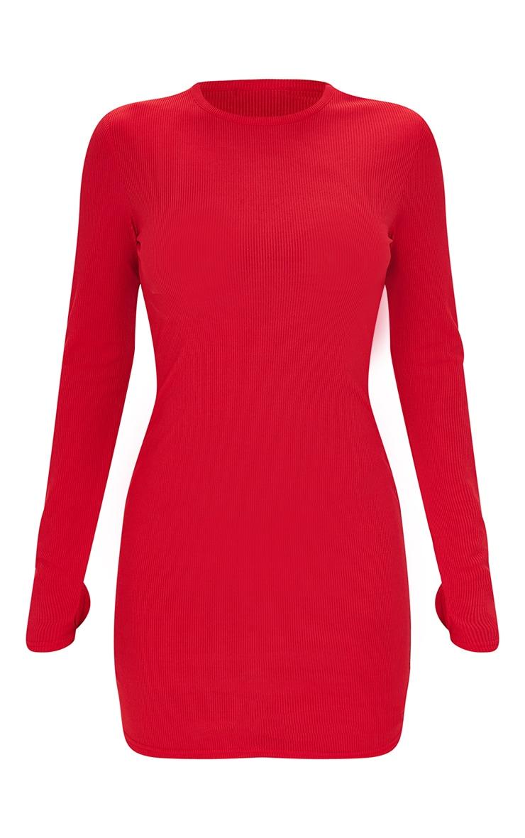 Robe Moulante Rouge A Manches Longues Et Trous Pouces Prettylittlething Fr