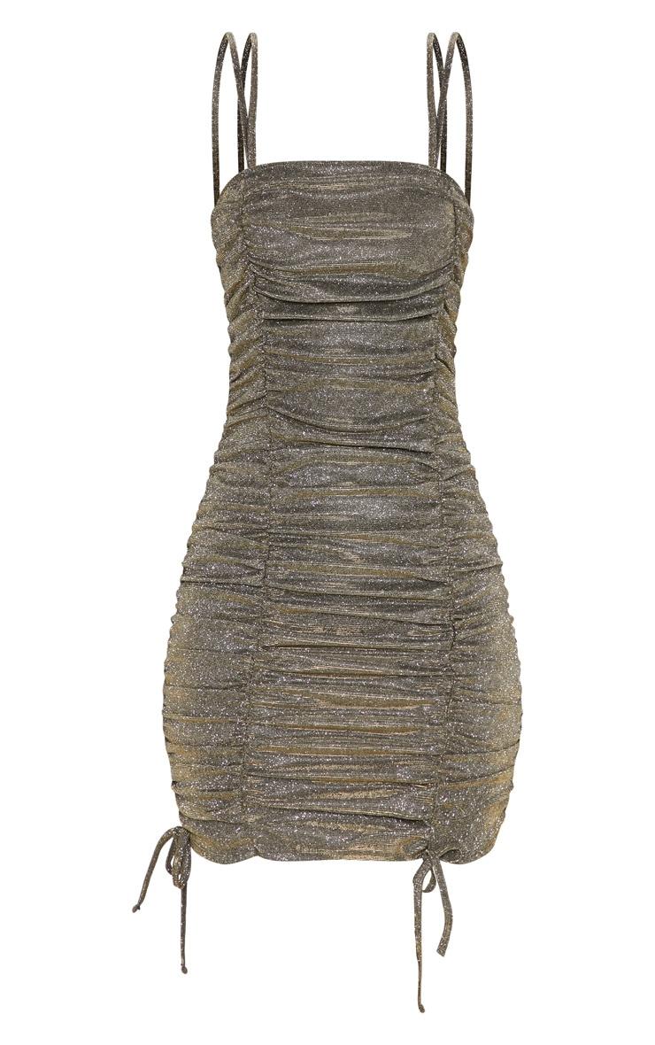 Gold Glitter Metallic Ruched Bodycon Dress 3