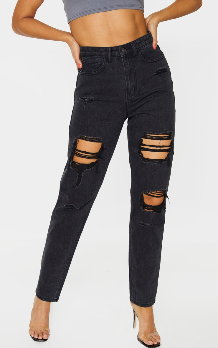 PRETTYLITTLETHING Tall Black Distressed Mom Jean 2