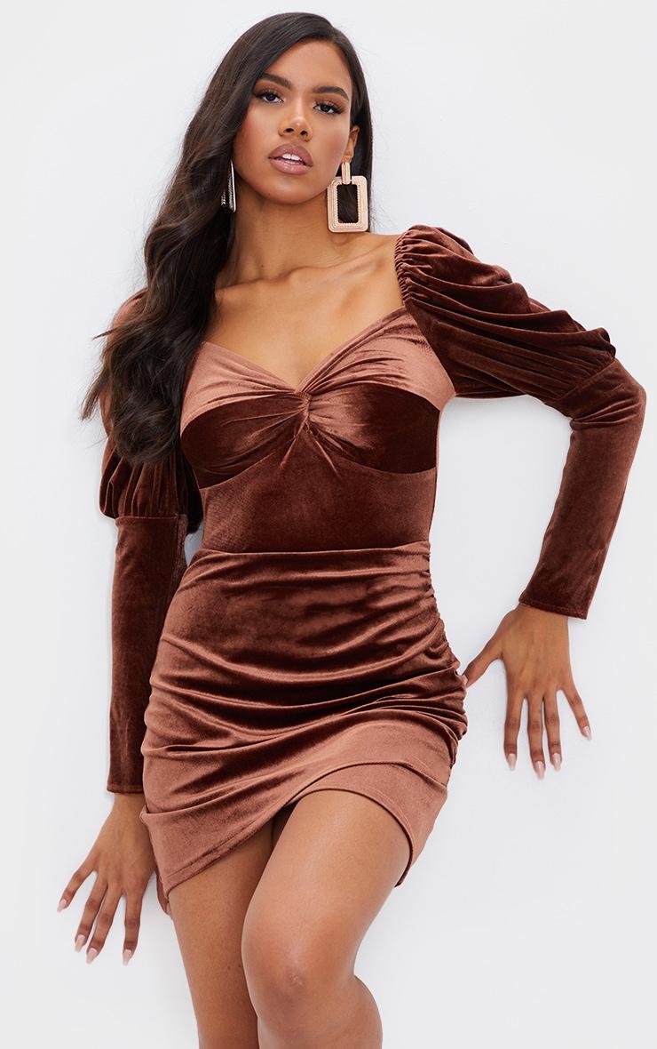 Chocolate Velvet Puff Sleeve Twist Detail Bodycon Dress 3