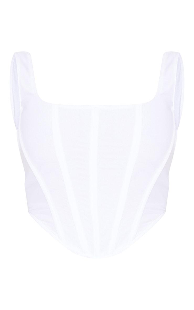 White Mesh Dipped Hem Corset 5