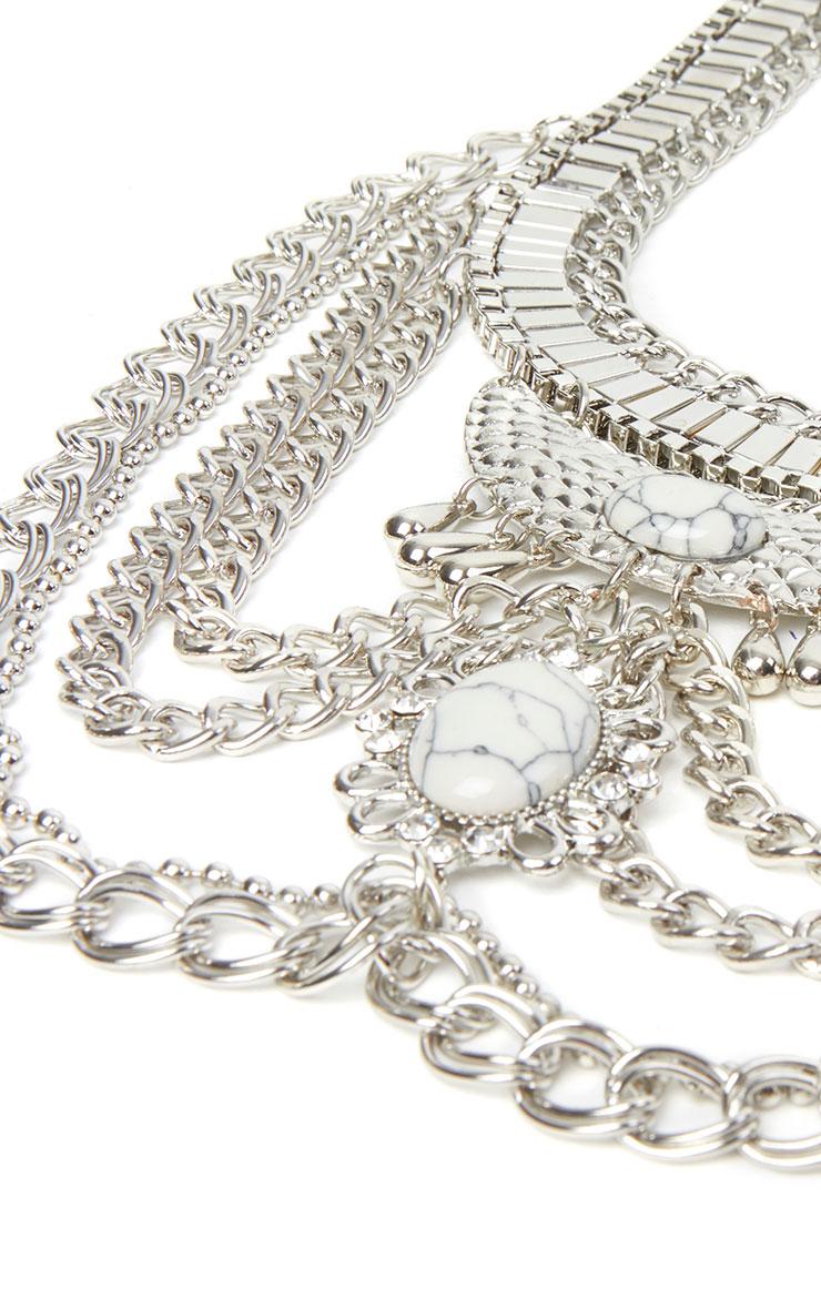 Charlene Silver Chain Statement Necklace 3