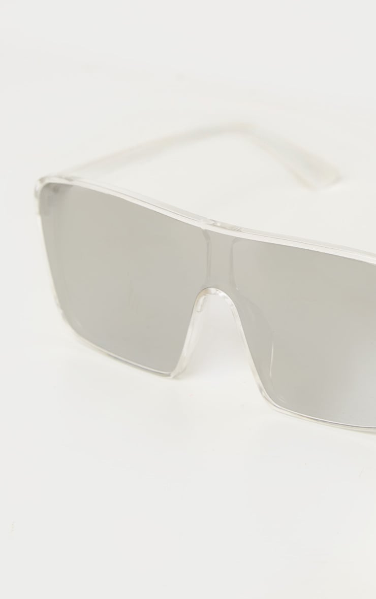 Clear Trim Silver Lens Oversized Square Frame Sunglasses 3