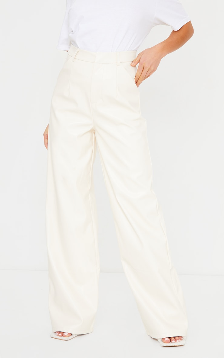 Petite Cream Faux Leather Wide Leg Pants 2