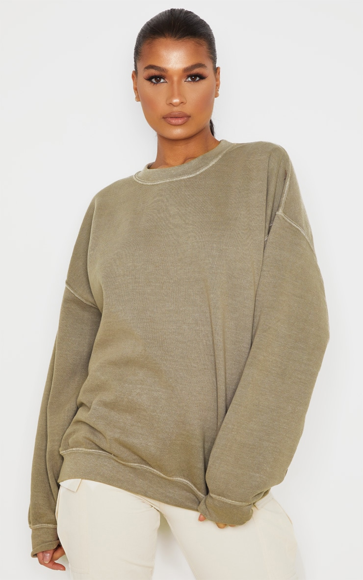 Taupe Oversized Washed Sweater 1