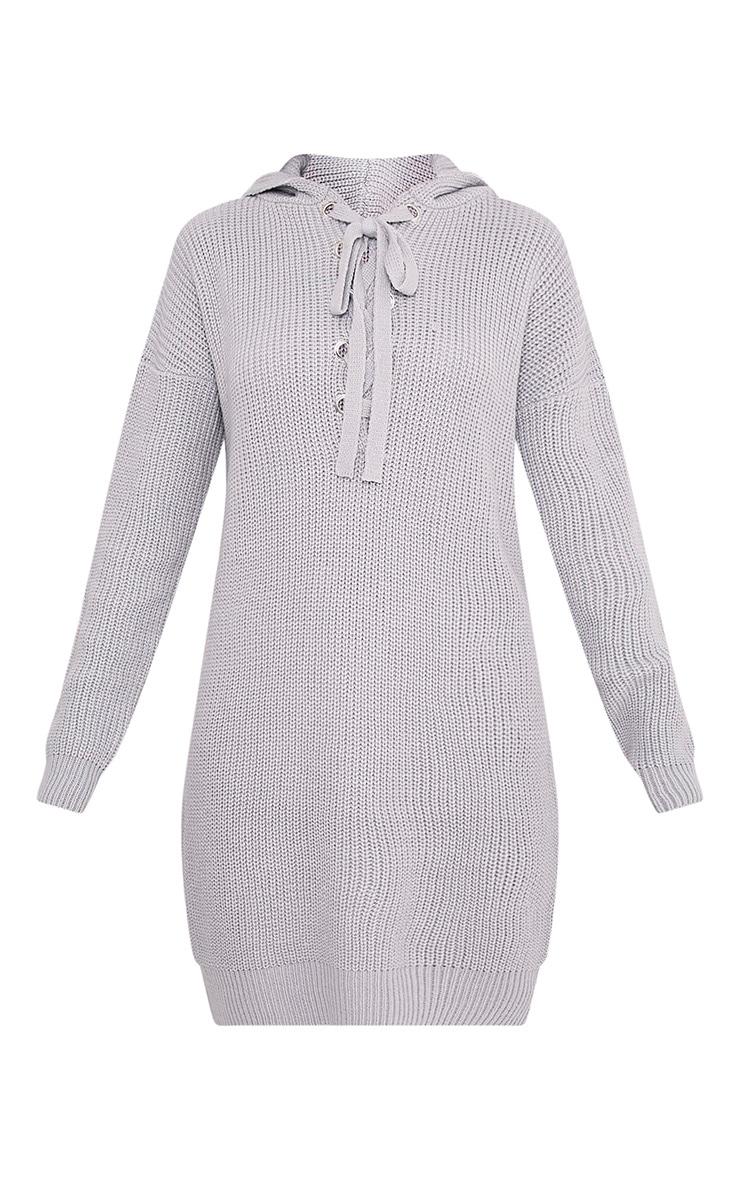 Megaen Grey Oversized Hoodie Knitted Dress 3