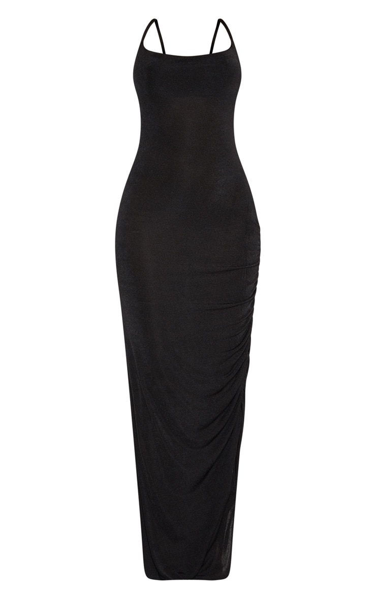 Black Textured Slinky Ruched Maxi Dress 3