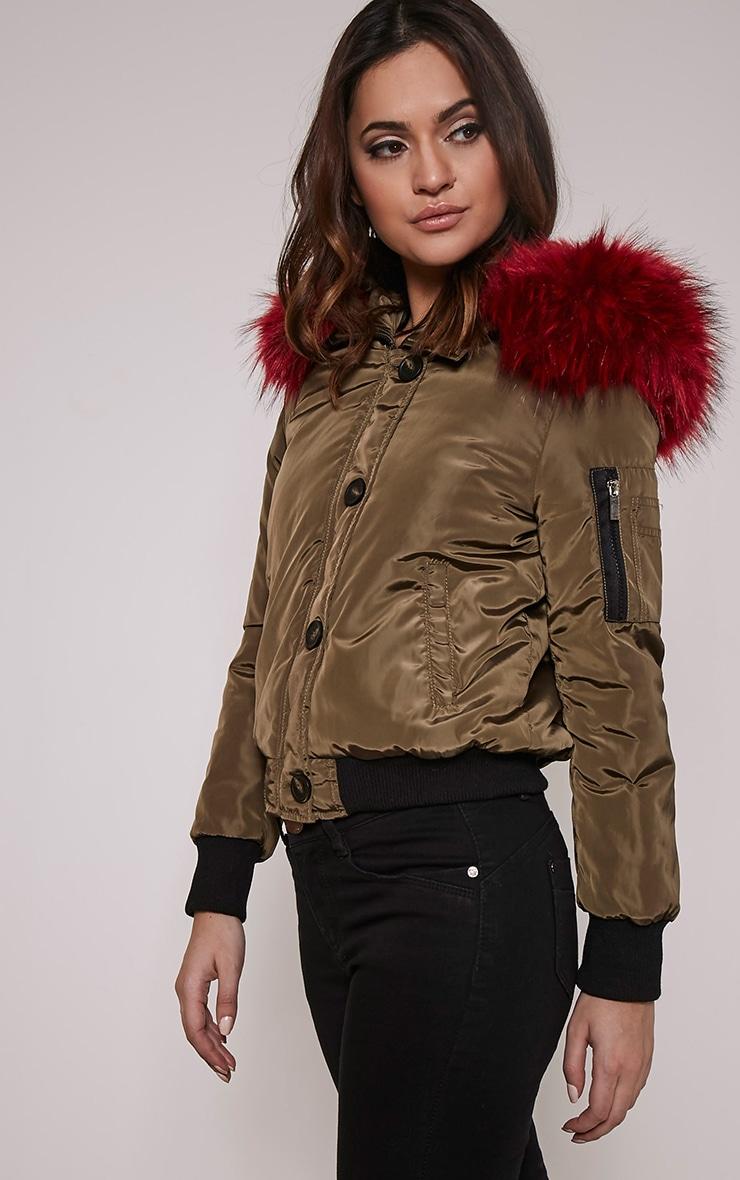 Lara Red  Faux Fur Lined Crop Parka 4