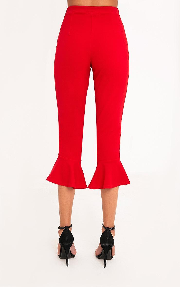 Red Flare Hem Trouser 4