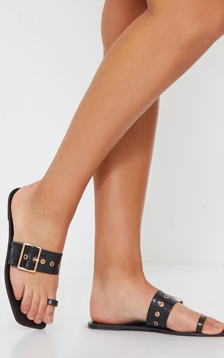 Black Toe Loop Buckle Strap Square Toe Mule Sandal 1