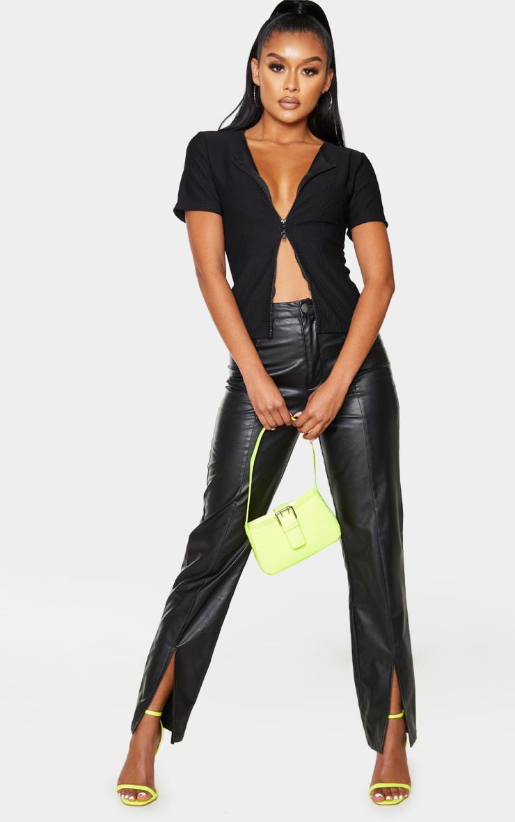 Top très côtelé noir à manches courtes et zip double 3