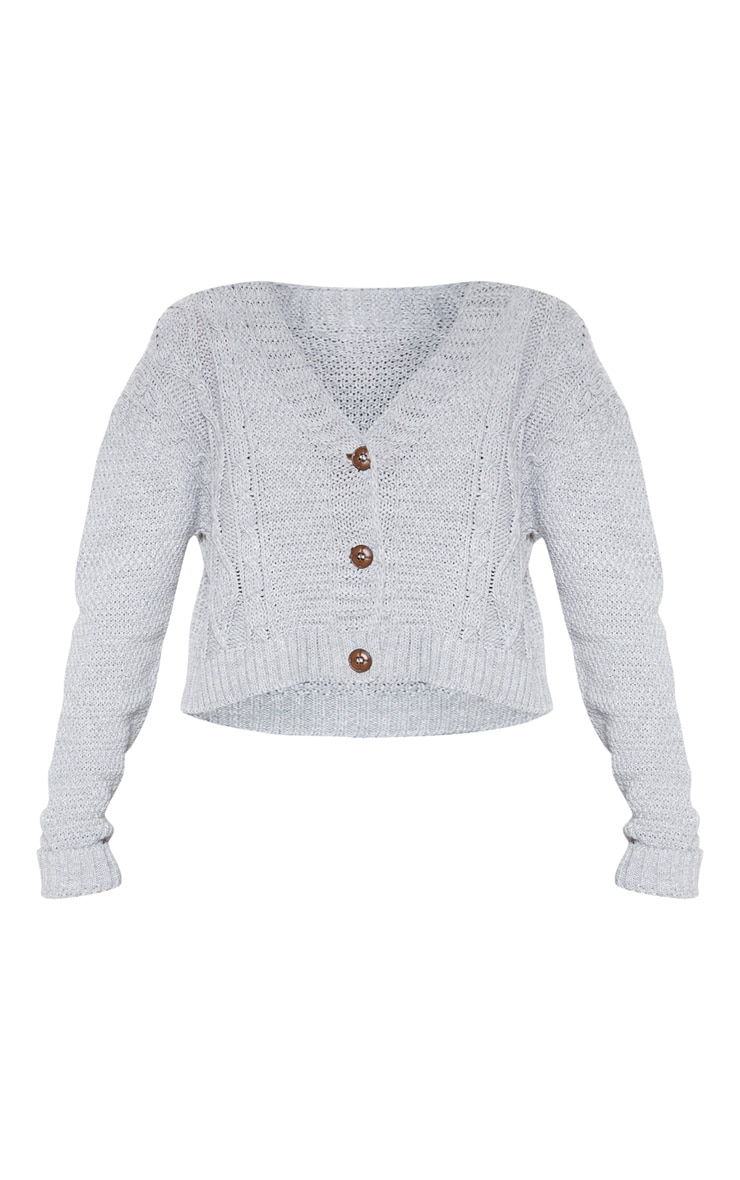 Light Grey Cable Cropped Cardigan 3