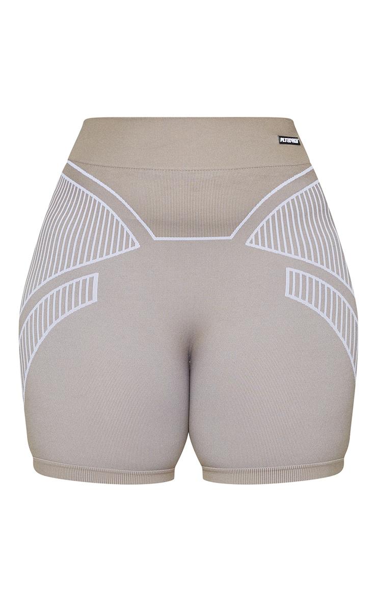 Plus Taupe Seamless Detail Shorts 6